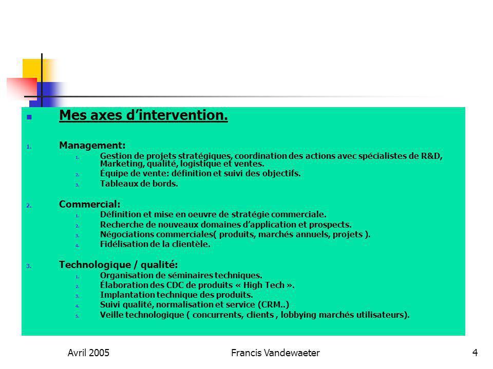 Avril 2005Francis Vandewaeter5 Quelques Références : Agere systems: Responsable grands comptes.