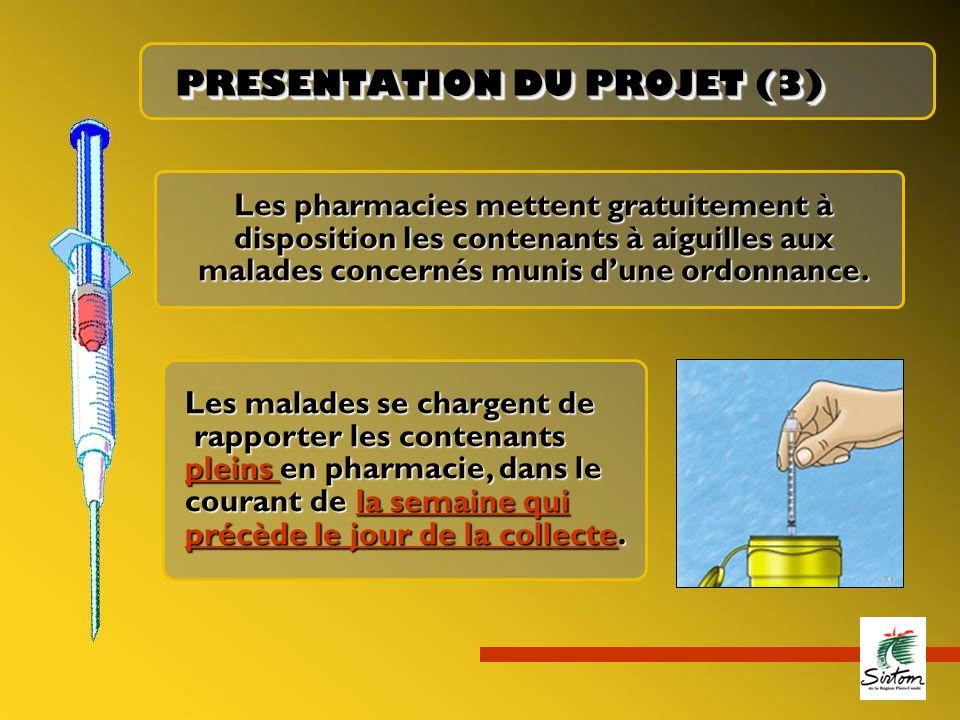 PRESENTATION DU PROJET (3) Les pharmacies mettent gratuitement à disposition les contenants à aiguilles aux malades concernés munis d'une ordonnance.