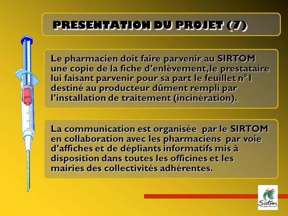 Le pharmacien doit faire parvenir au SIRTOM une copie de la fiche d'enlèvement, le prestataire lui faisant parvenir pour sa part le feuillet n°1 destiné au producteur dûment rempli par l'installation de traitement (incinération).