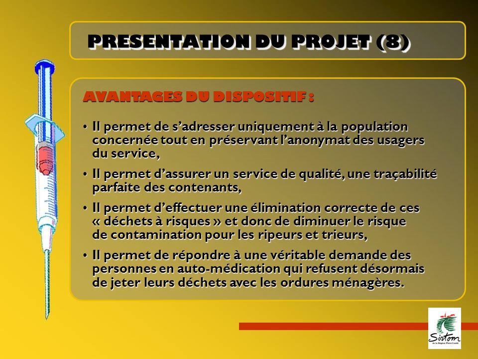 PRESENTATION DU PROJET (8) AVANTAGES DU DISPOSITIF : Il permet de s'adresser uniquement à la populationIl permet de s'adresser uniquement à la populat