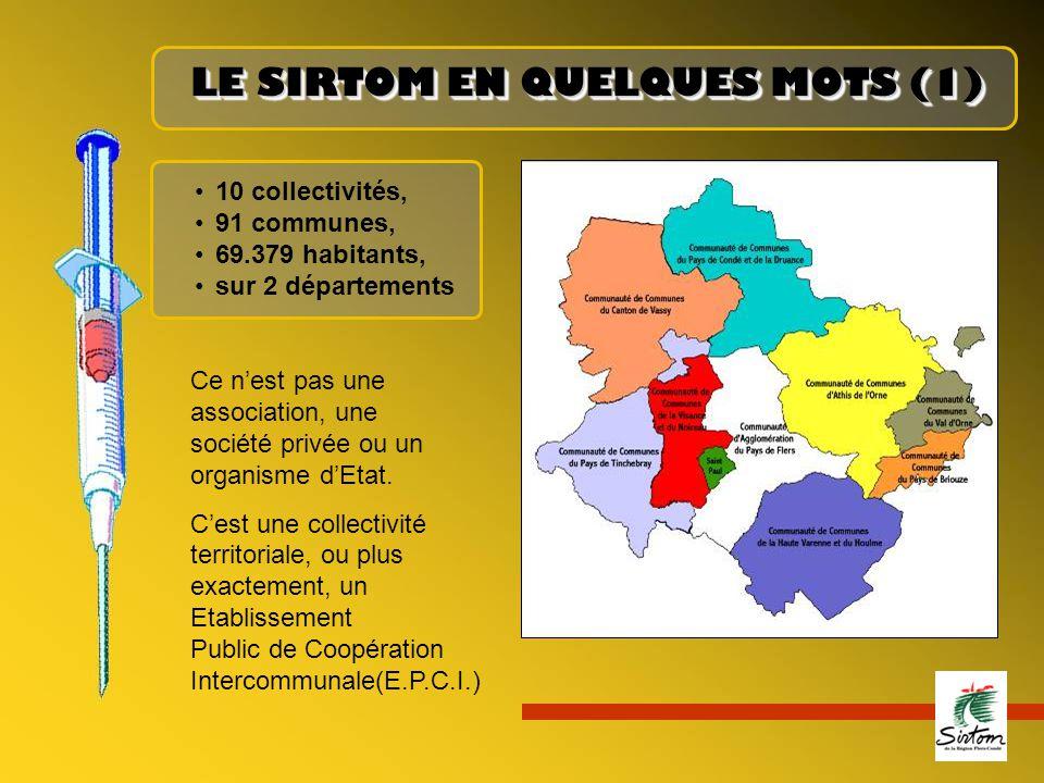 LE SIRTOM EN QUELQUES MOTS (1) 10 collectivités, 91 communes, 69.379 habitants, sur 2 départements Ce n'est pas une association, une société privée ou