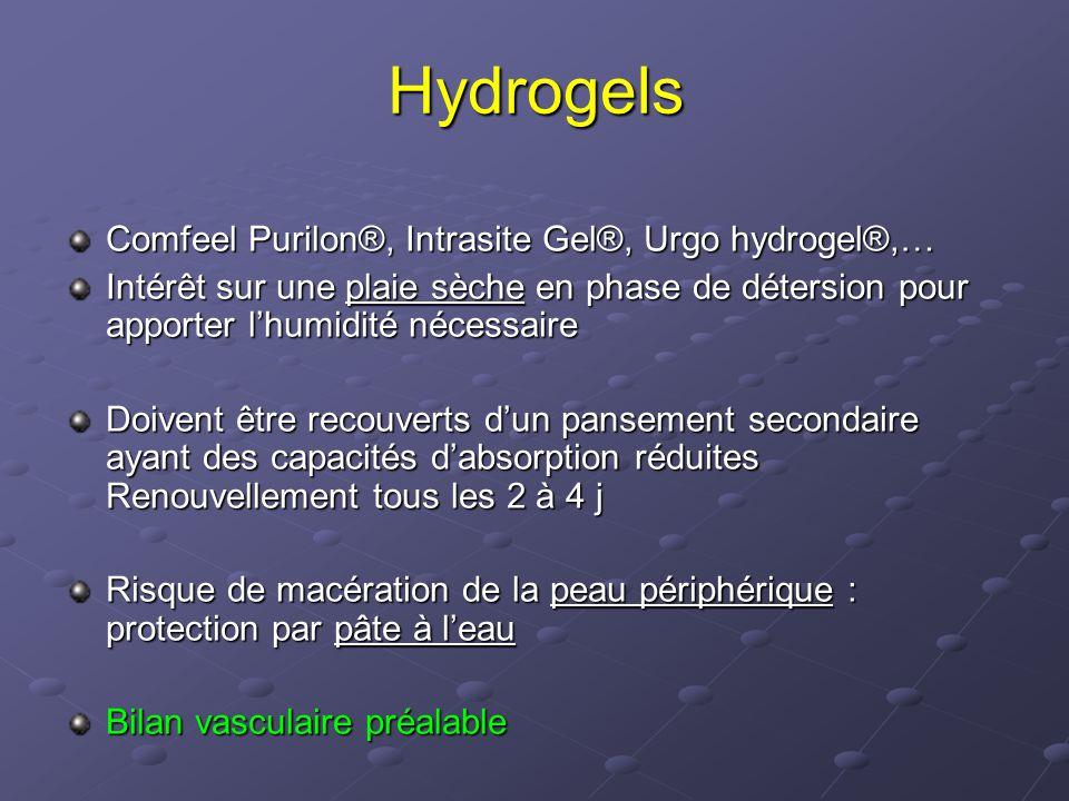 Hydrogels Comfeel Purilon®, Intrasite Gel®, Urgo hydrogel®,… Intérêt sur une plaie sèche en phase de détersion pour apporter l'humidité nécessaire Doi