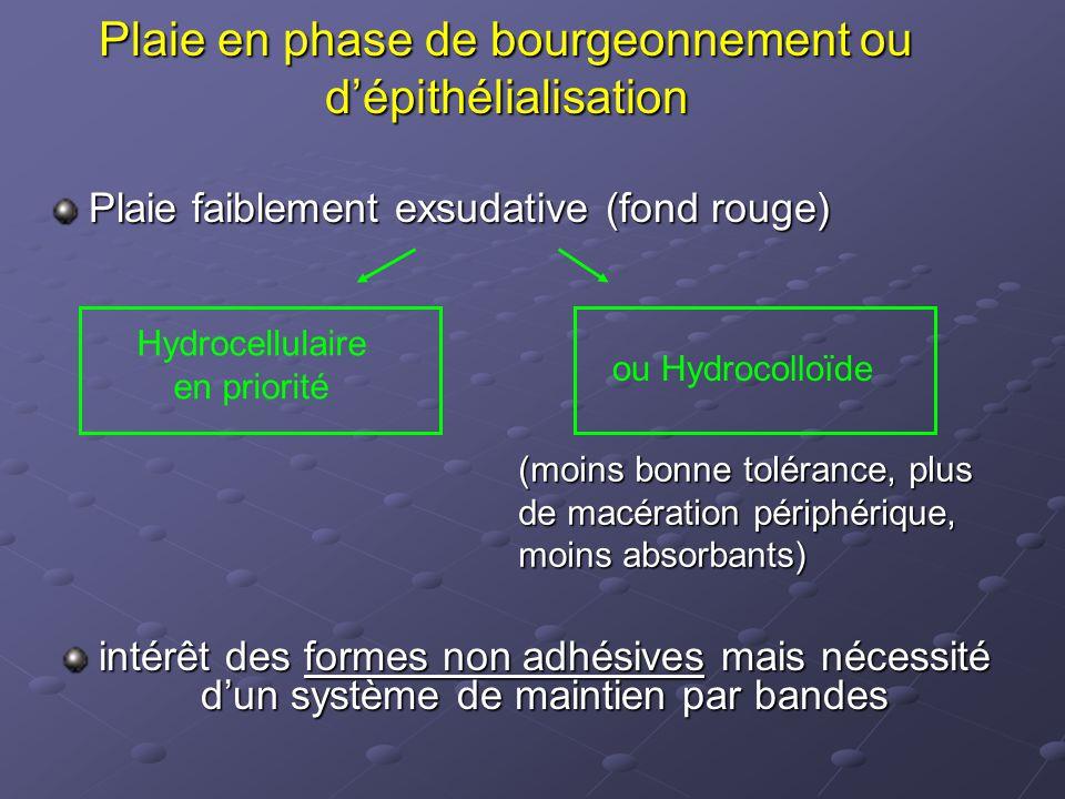 Plaie en phase de bourgeonnement ou d'épithélialisation Plaie faiblement exsudative (fond rouge) intérêt des formes non adhésives mais nécessité d'un
