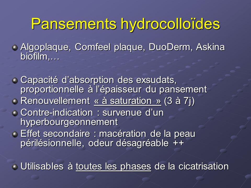 Pansements hydrocolloïdes Algoplaque, Comfeel plaque, DuoDerm, Askina biofilm,… Capacité d'absorption des exsudats, proportionnelle à l'épaisseur du p