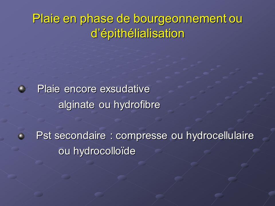 Plaie en phase de bourgeonnement ou d'épithélialisation Plaie encore exsudative Plaie encore exsudative alginate ou hydrofibre alginate ou hydrofibre