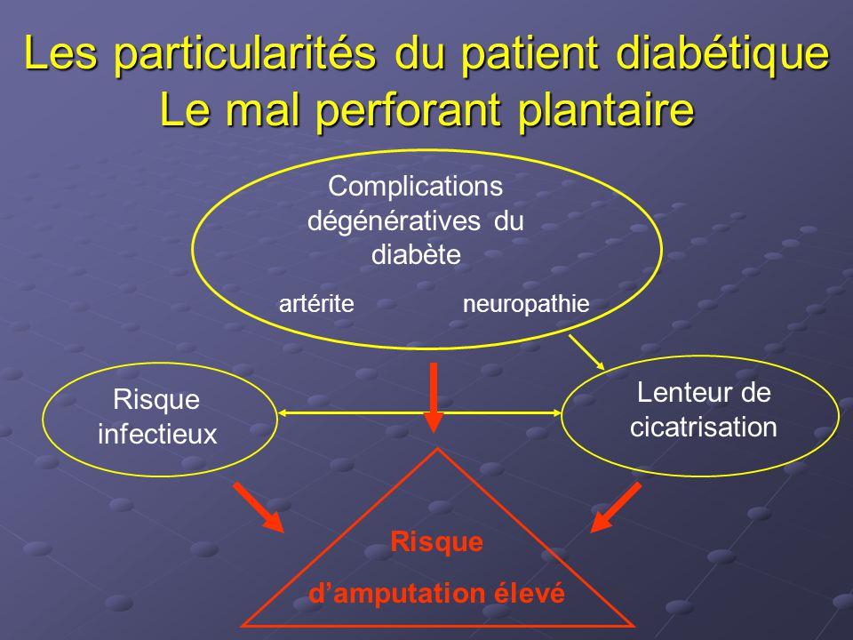 Les particularités du patient diabétique Le mal perforant plantaire Complications dégénératives du diabète Lenteur de cicatrisation Risque infectieux