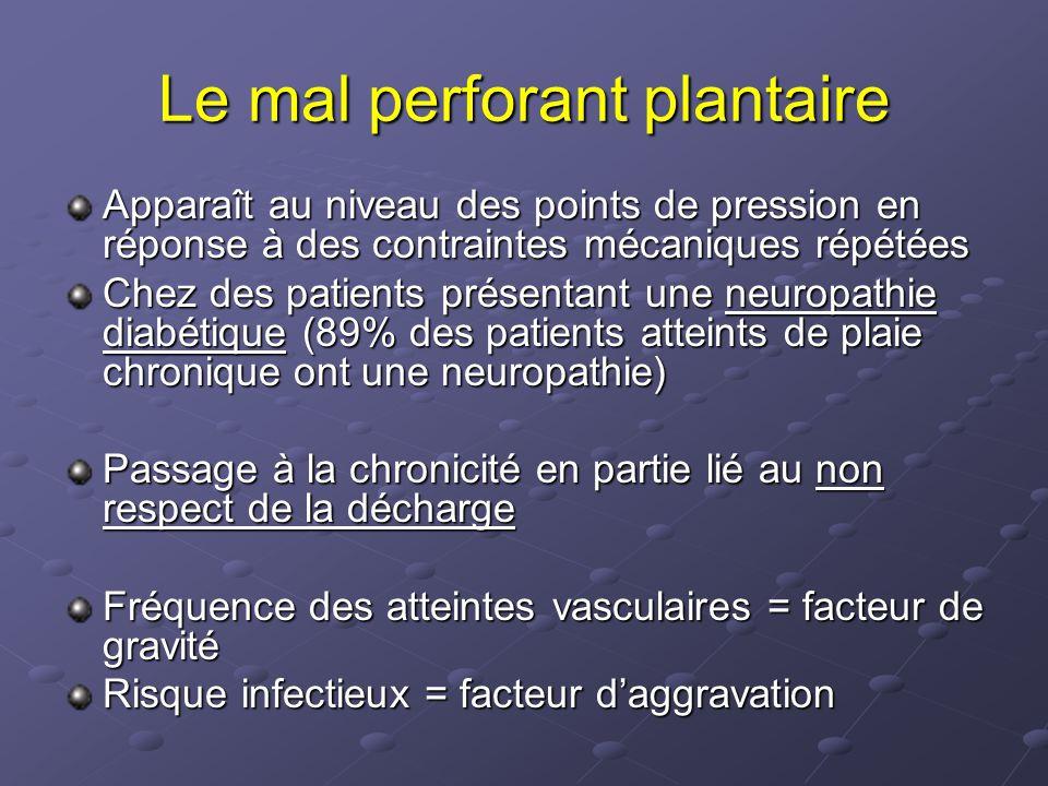 Le mal perforant plantaire Apparaît au niveau des points de pression en réponse à des contraintes mécaniques répétées Chez des patients présentant une