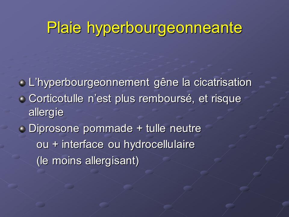 Plaie hyperbourgeonneante L'hyperbourgeonnement gêne la cicatrisation Corticotulle n'est plus remboursé, et risque allergie Diprosone pommade + tulle