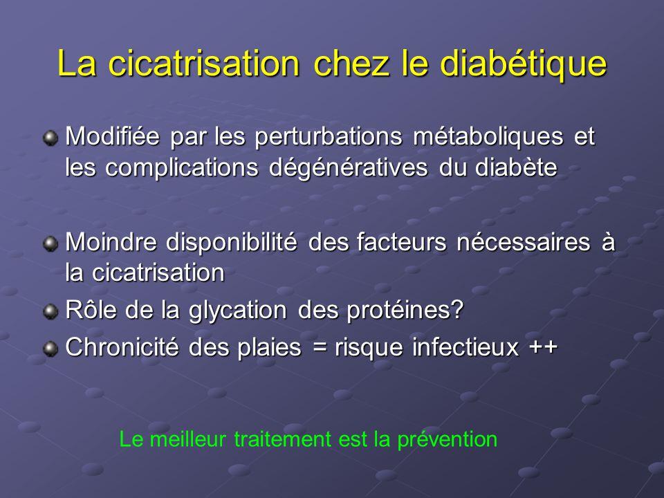 La cicatrisation chez le diabétique Modifiée par les perturbations métaboliques et les complications dégénératives du diabète Moindre disponibilité de