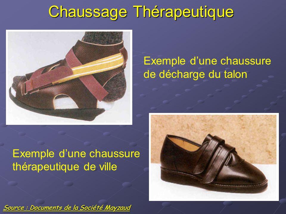 Chaussage Thérapeutique Exemple d'une chaussure de décharge du talon Exemple d'une chaussure thérapeutique de ville Source : Documents de la Société M