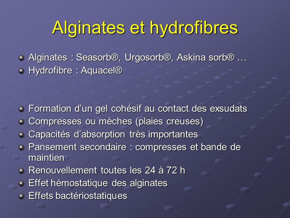 Alginates et hydrofibres Alginates : Seasorb®, Urgosorb®, Askina sorb® … Hydrofibre : Aquacel® Formation d'un gel cohésif au contact des exsudats Comp