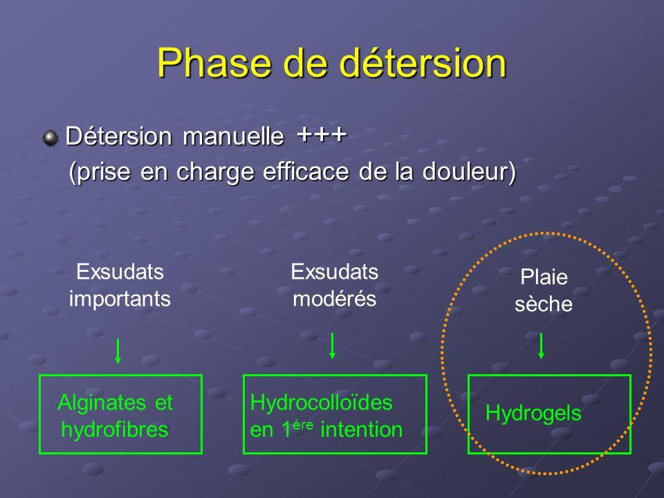 Phase de détersion Détersion manuelle +++ (prise en charge efficace de la douleur) (prise en charge efficace de la douleur) Exsudats importants Exsuda