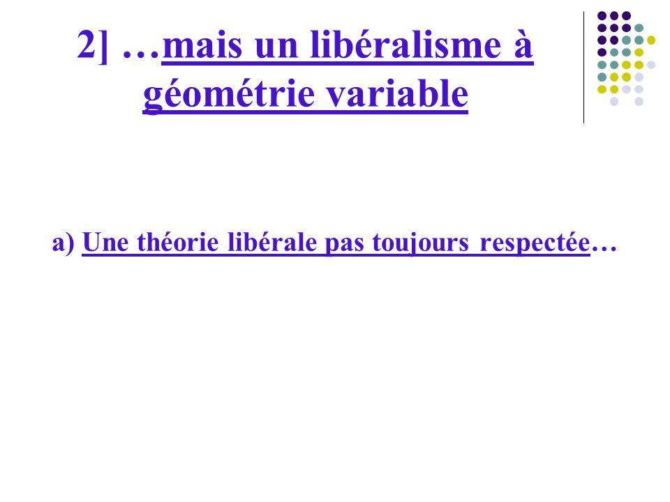 2] …mais un libéralisme à géométrie variable a) Une théorie libérale pas toujours respectée…