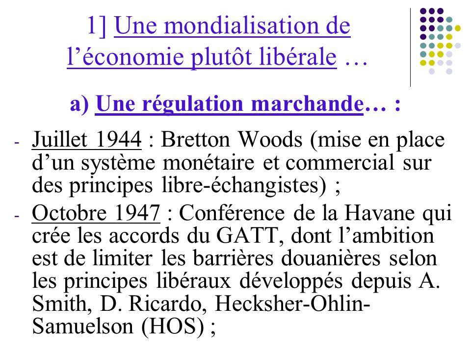 1] Une mondialisation de l'économie plutôt libérale … a) Une régulation marchande… : - Juillet 1944 : Bretton Woods (mise en place d'un système monétaire et commercial sur des principes libre-échangistes) ; - Octobre 1947 : Conférence de la Havane qui crée les accords du GATT, dont l'ambition est de limiter les barrières douanières selon les principes libéraux développés depuis A.