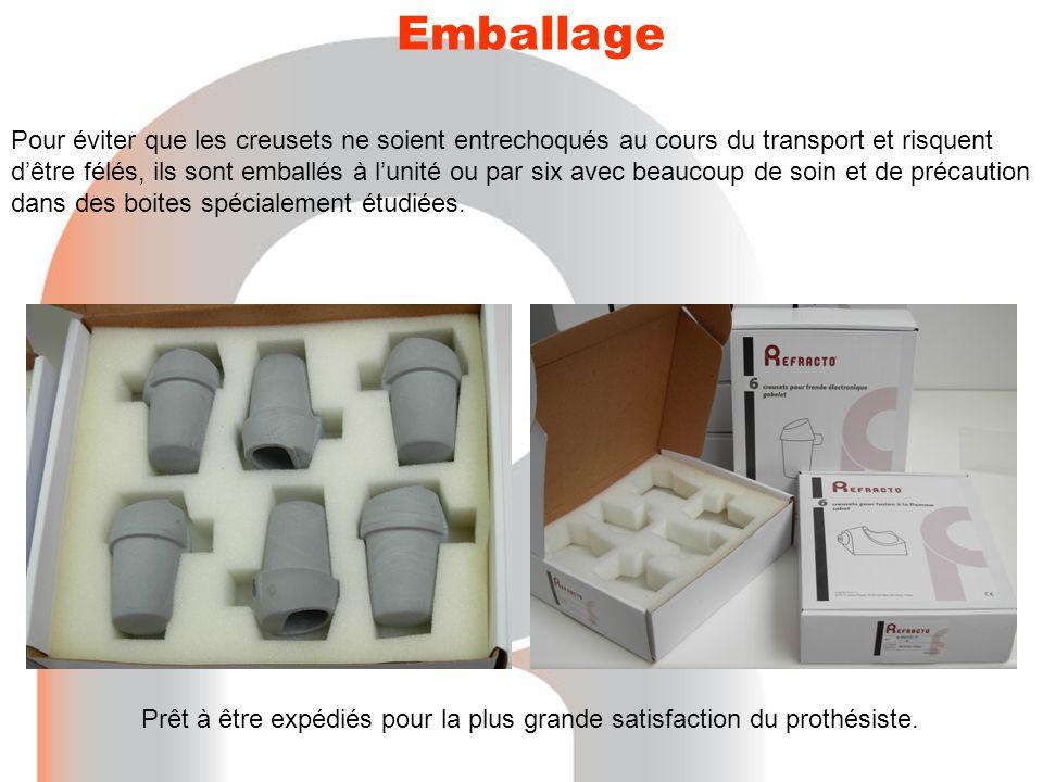 Emballage Pour éviter que les creusets ne soient entrechoqués au cours du transport et risquent d'être félés, ils sont emballés à l'unité ou par six a