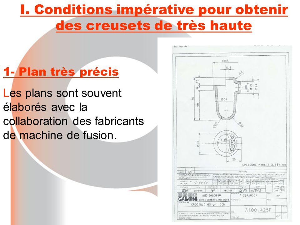 1- Plan très précis Les plans sont souvent élaborés avec la collaboration des fabricants de machine de fusion. I. Conditions impérative pour obtenir d