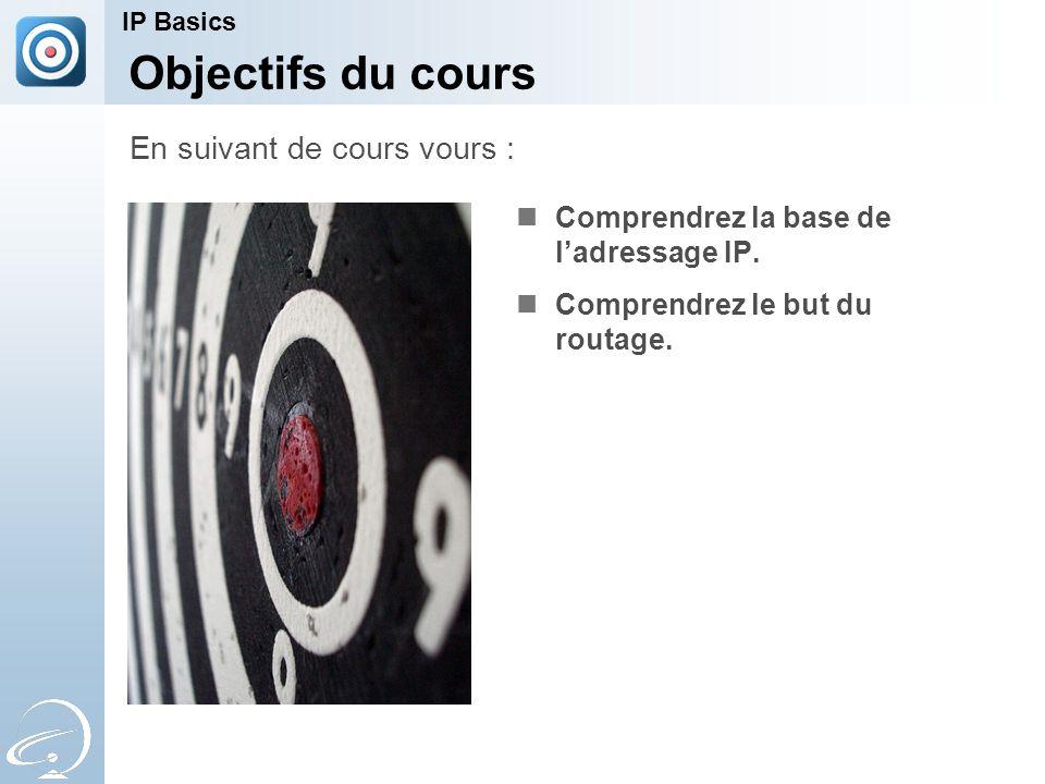 Objectifs du cours Comprendrez la base de l'adressage IP.