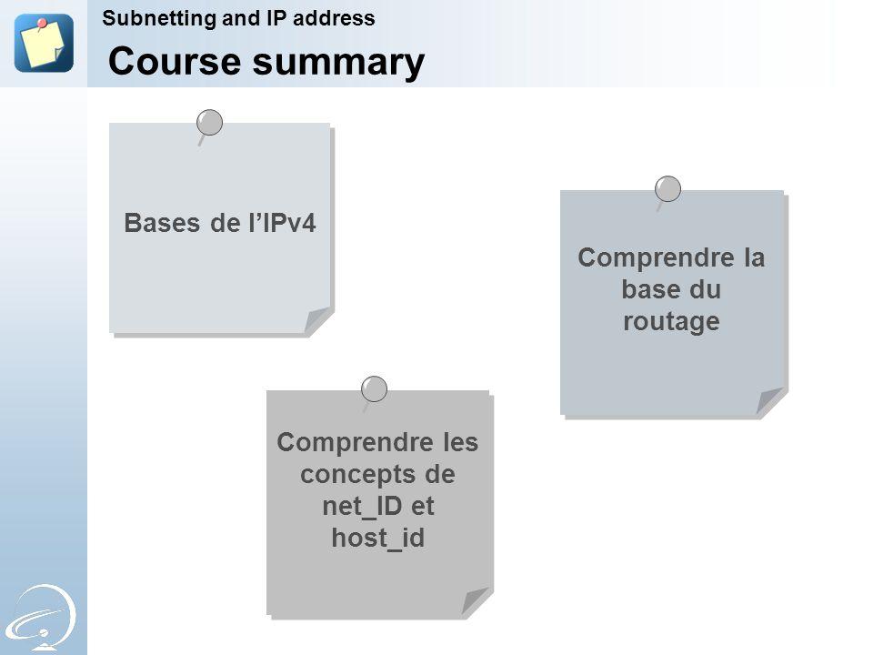 Bases de l'IPv4 Comprendre la base du routage Course summary Comprendre les concepts de net_ID et host_id Subnetting and IP address