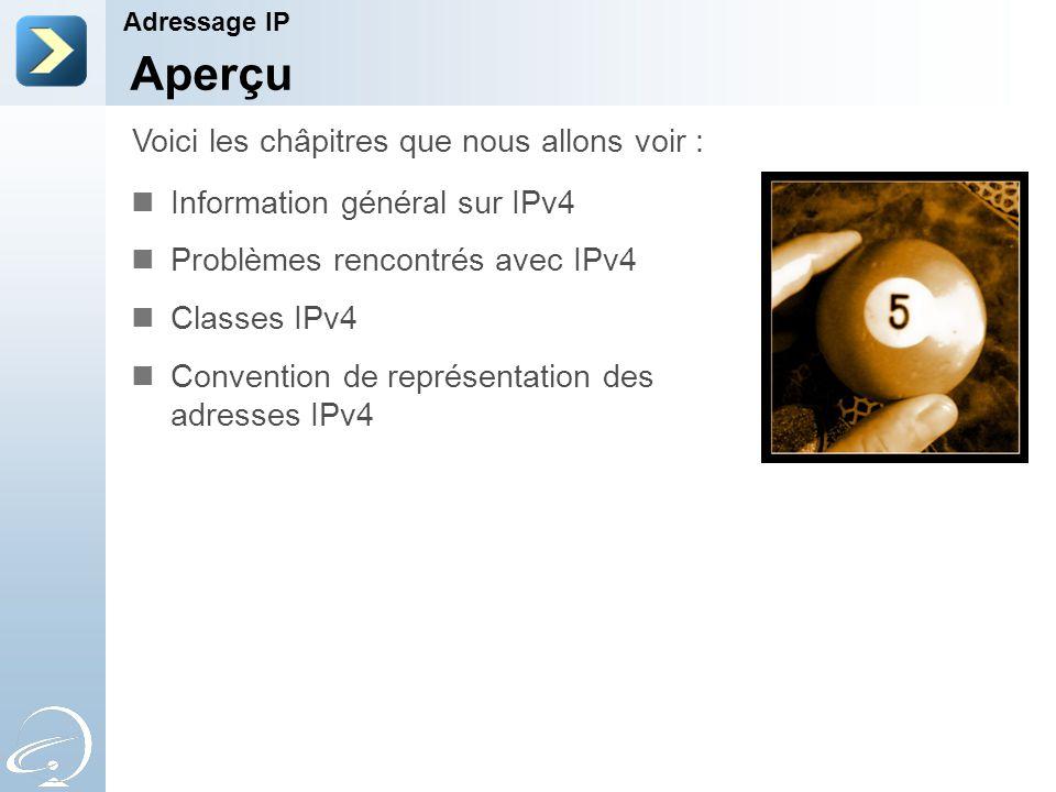 Aperçu Information général sur IPv4 Problèmes rencontrés avec IPv4 Classes IPv4 Convention de représentation des adresses IPv4 Voici les châpitres que nous allons voir : Adressage IP