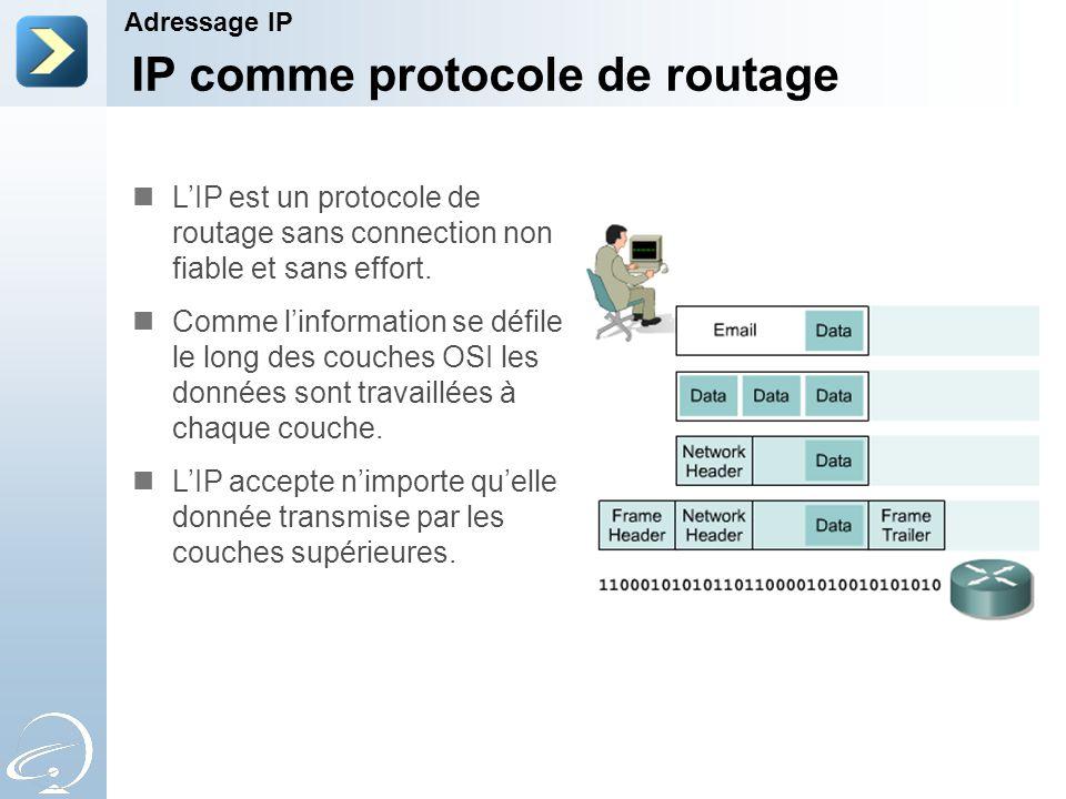 IP comme protocole de routage Adressage IP L'IP est un protocole de routage sans connection non fiable et sans effort.