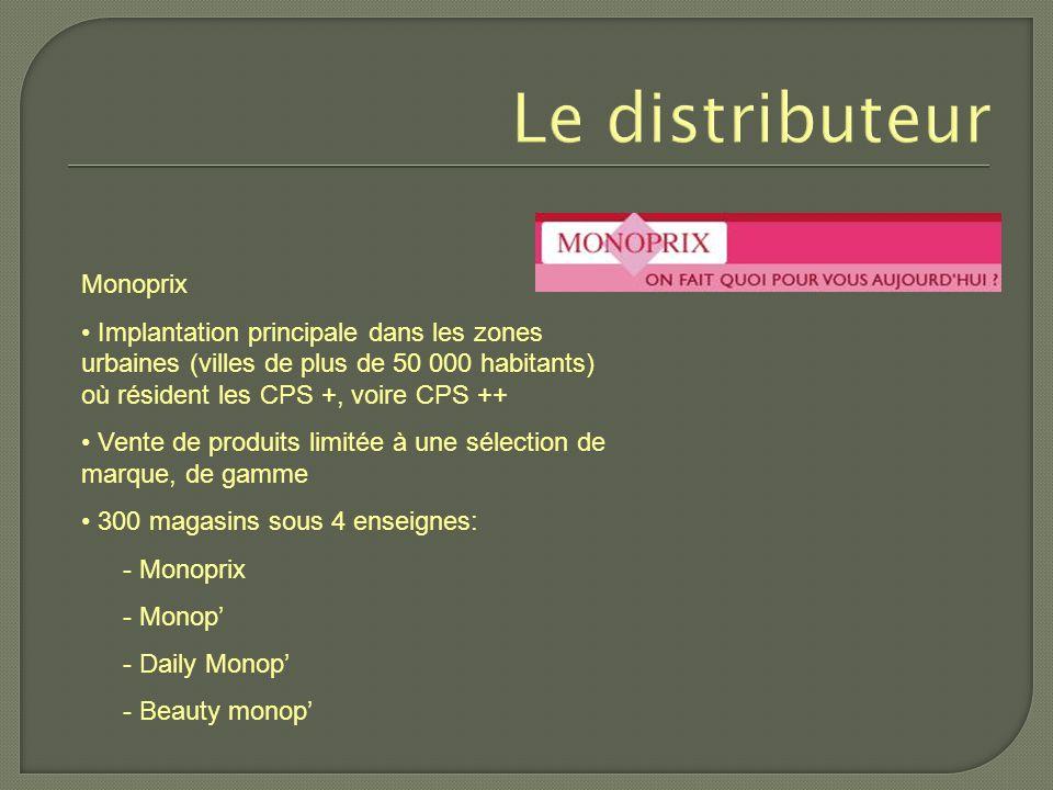 Le distributeur Monoprix Implantation principale dans les zones urbaines (villes de plus de 50 000 habitants) où résident les CPS +, voire CPS ++ Vent