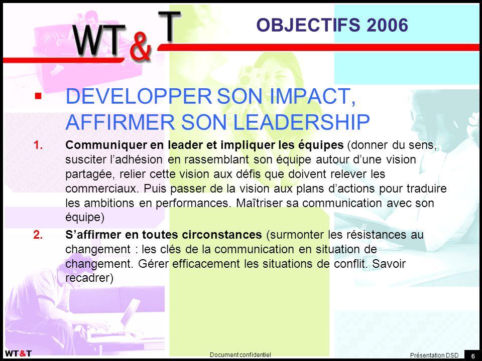 Document confidentiel WT&T Présentation DSD 6 OBJECTIFS 2006  DEVELOPPER SON IMPACT, AFFIRMER SON LEADERSHIP  Communiquer en leader et impliquer les équipes (donner du sens, susciter l'adhésion en rassemblant son équipe autour d'une vision partagée, relier cette vision aux défis que doivent relever les commerciaux.