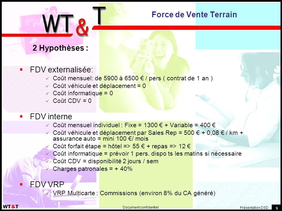 Document confidentiel WT&T Présentation DSD 9 Force de Vente Terrain  FDV externalisée: Coût mensuel: de 5900 à 6500 € / pers ( contrat de 1 an ) Coû