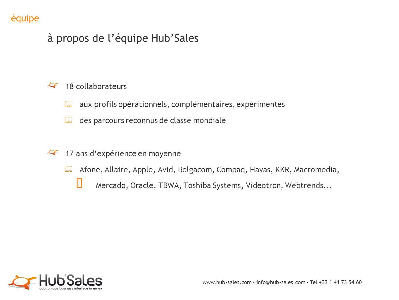 équipe à propos de l'équipe Hub'Sales 18 collaborateurs ✦ aux profils opérationnels, complémentaires, expérimentés ✦ des parcours reconnus de classe m