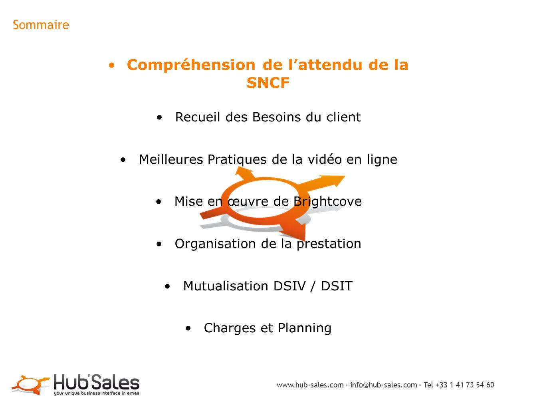 Sommaire Compréhension de l'attendu de la SNCF Recueil des Besoins du client Meilleures Pratiques de la vidéo en ligne Mise en œuvre de Brightcove Org