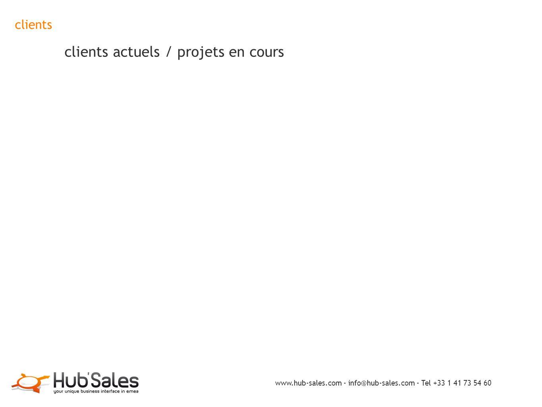 clients clients actuels / projets en cours www.hub-sales.com - info@hub-sales.com - Tel +33 1 41 73 54 60