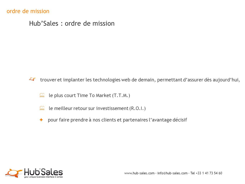 ordre de mission Hub'Sales : ordre de mission trouver et implanter les technologies web de demain, permettant d'assurer dès aujourd'hui, ✦ le plus cou