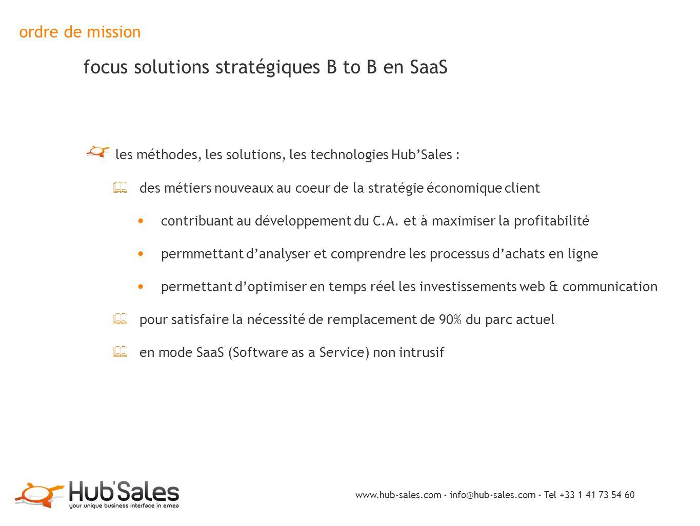ordre de mission focus solutions stratégiques B to B en SaaS les méthodes, les solutions, les technologies Hub'Sales : ✦ des métiers nouveaux au coeur