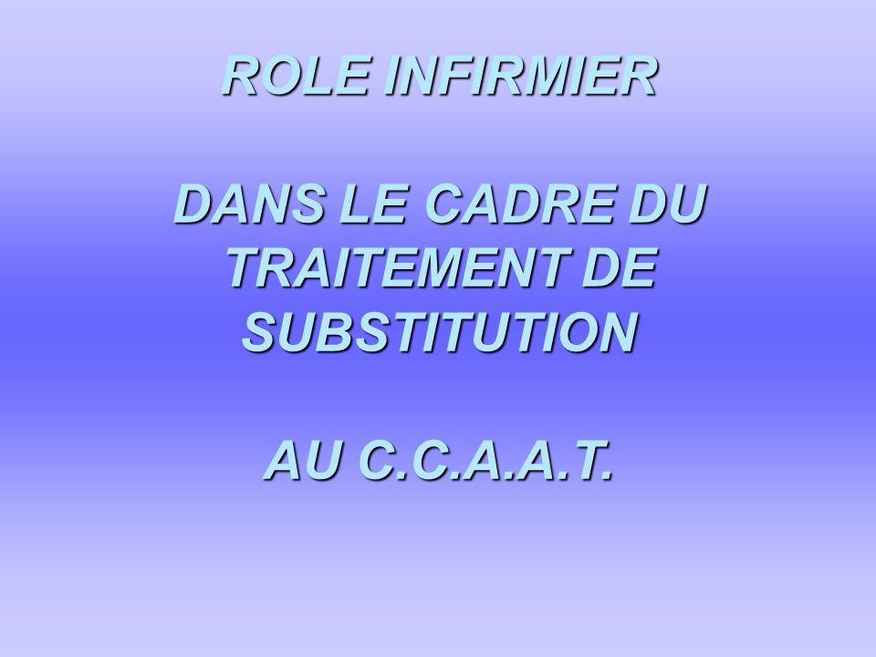 ROLE INFIRMIER DANS LE CADRE DU TRAITEMENT DE SUBSTITUTION AU C.C.A.A.T.