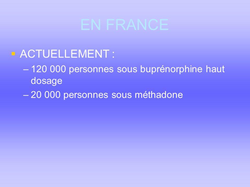 EN FRANCE  ACTUELLEMENT : –120 000 personnes sous buprénorphine haut dosage –20 000 personnes sous méthadone
