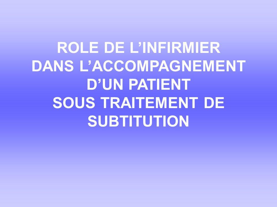 ROLE DE L'INFIRMIER DANS L'ACCOMPAGNEMENT D'UN PATIENT SOUS TRAITEMENT DE SUBTITUTION