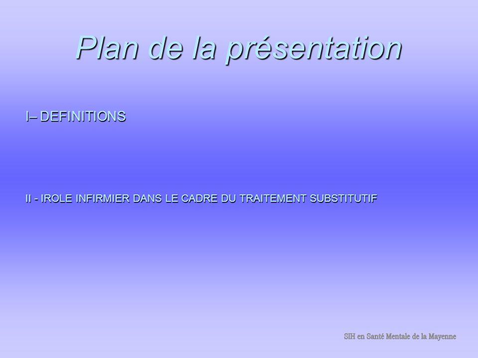 Plan de la présentation I– DEFINITIONS II - IROLE INFIRMIER DANS LE CADRE DU TRAITEMENT SUBSTITUTIF