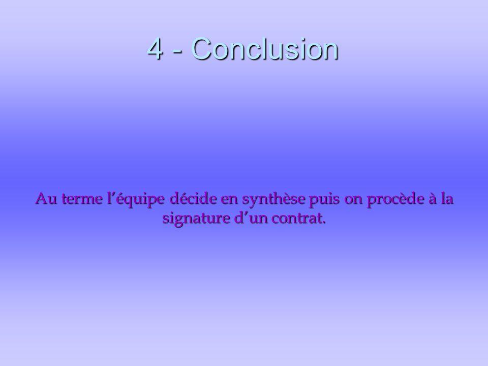 4 - Conclusion Au terme l'équipe décide en synthèse puis on procède à la signature d'un contrat.