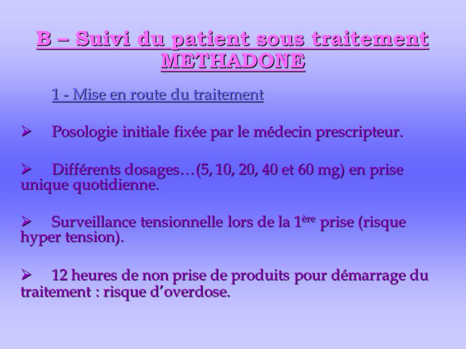 B – Suivi du patient sous traitement METHADONE 1 - Mise en route du traitement  Posologie initiale fixée par le médecin prescripteur.  Différents do