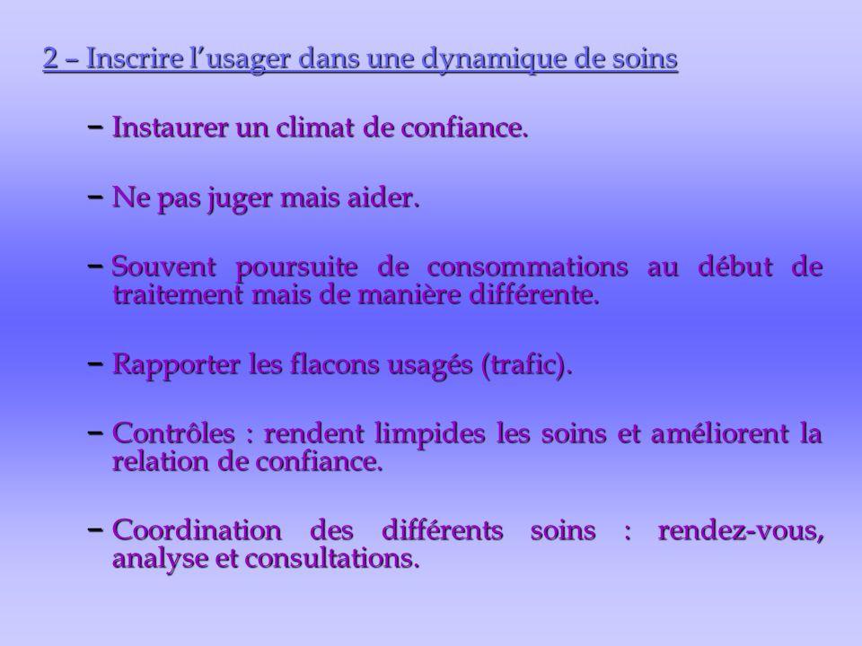 2 – Inscrire l'usager dans une dynamique de soins – Instaurer un climat de confiance. – Ne pas juger mais aider. – Souvent poursuite de consommations