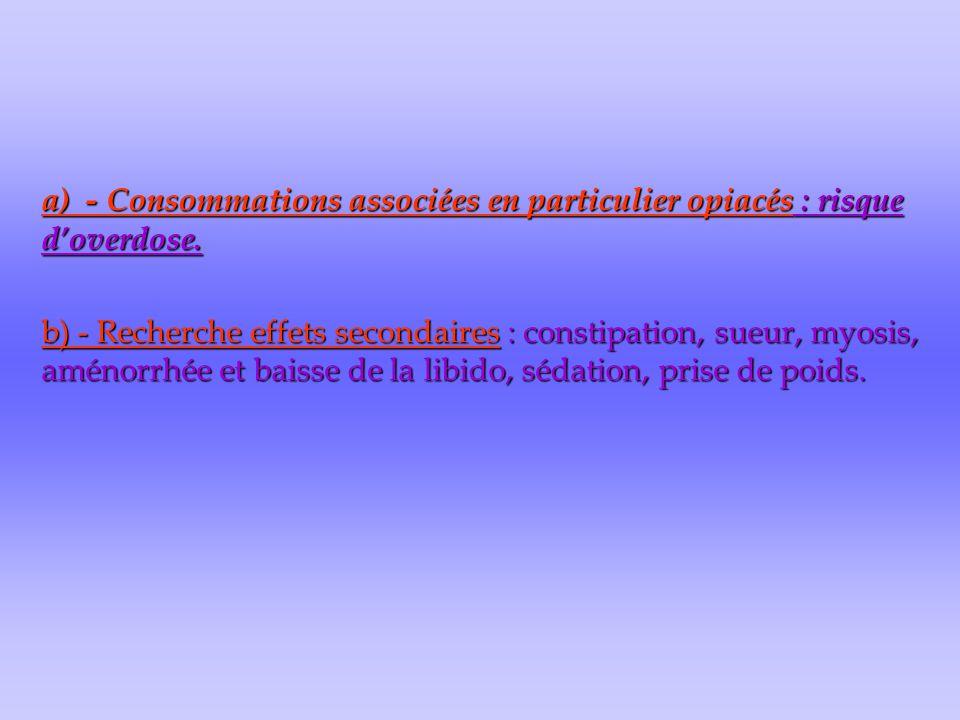 a) - Consommations associées en particulier opiacés : risque d'overdose. b) - Recherche effets secondaires : constipation, sueur, myosis, aménorrhée e