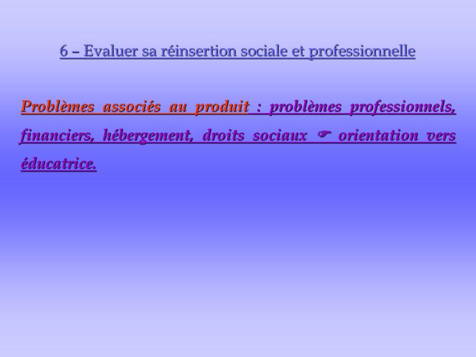 6 – Evaluer sa réinsertion sociale et professionnelle Problèmes associés au produit : problèmes professionnels, financiers, hébergement, droits sociaux  orientation vers éducatrice.