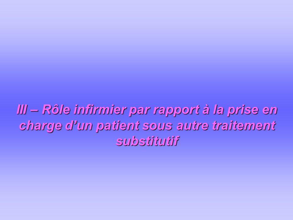 III – Rôle infirmier par rapport à la prise en charge d'un patient sous autre traitement substitutif