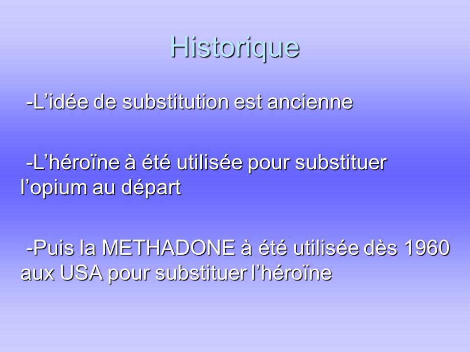 Historique -L'idée de substitution est ancienne -L'idée de substitution est ancienne -L'héroïne à été utilisée pour substituer l'opium au départ -L'héroïne à été utilisée pour substituer l'opium au départ -Puis la METHADONE à été utilisée dès 1960 aux USA pour substituer l'héroïne -Puis la METHADONE à été utilisée dès 1960 aux USA pour substituer l'héroïne