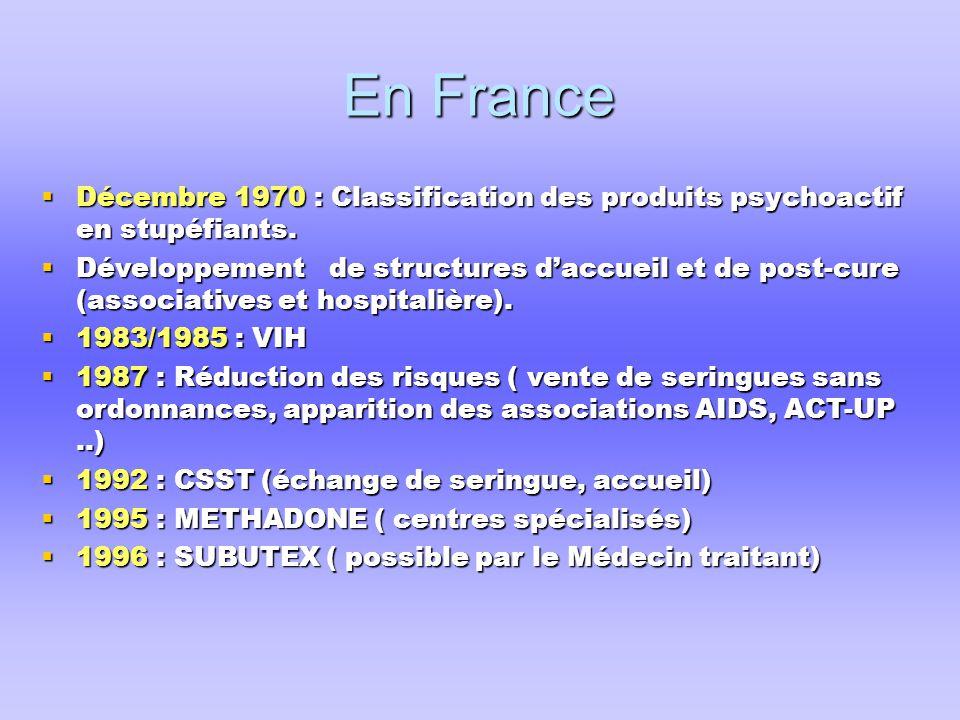 En France  Décembre 1970 : Classification des produits psychoactif en stupéfiants.  Développement de structures d'accueil et de post-cure (associati
