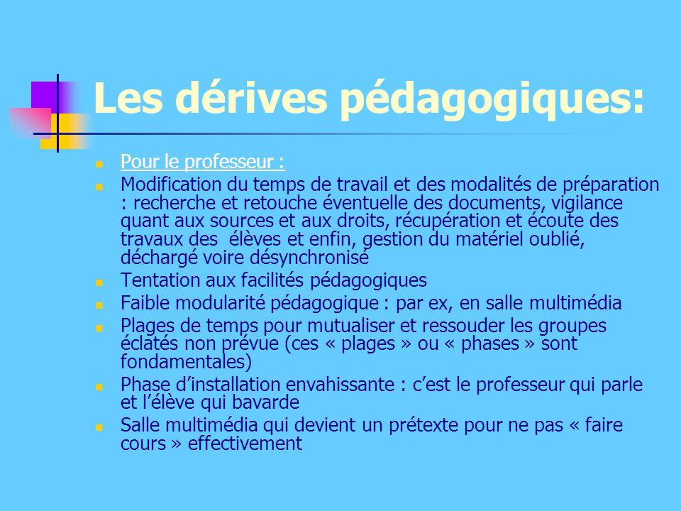Les dérives pédagogiques: Pour le professeur : Modification du temps de travail et des modalités de préparation : recherche et retouche éventuelle des