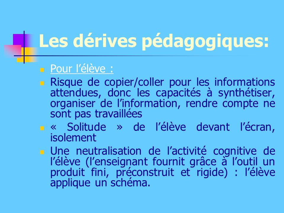 Les dérives pédagogiques: Pour l'élève : Risque de copier/coller pour les informations attendues, donc les capacités à synthétiser, organiser de l'inf