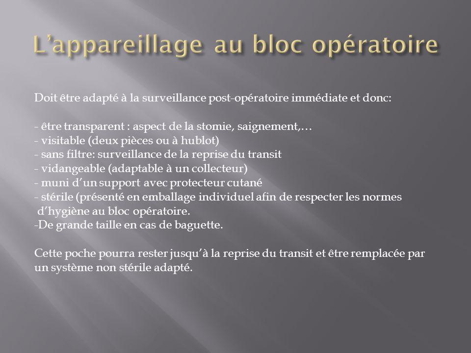 Doit être adapté à la surveillance post-opératoire immédiate et donc: - être transparent : aspect de la stomie, saignement,… - visitable (deux pièces