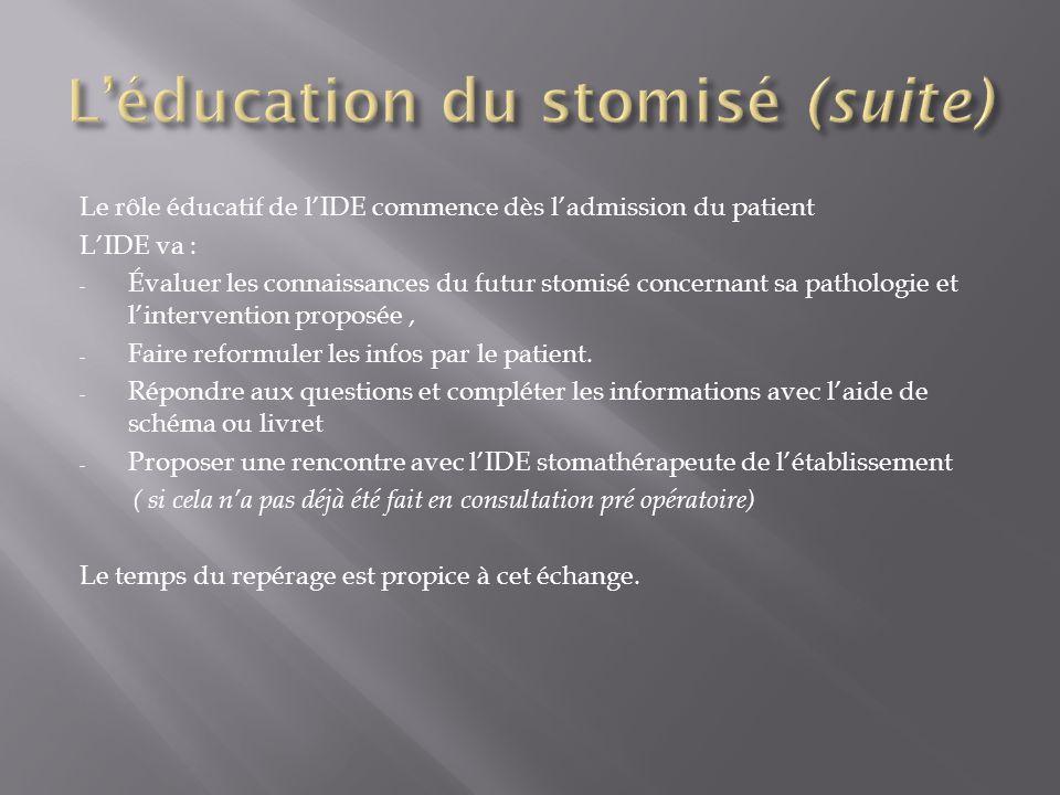 Le rôle éducatif de l'IDE commence dès l'admission du patient L'IDE va : - Évaluer les connaissances du futur stomisé concernant sa pathologie et l'in