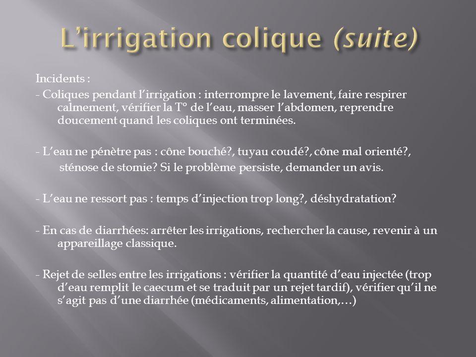 Incidents : - Coliques pendant l'irrigation : interrompre le lavement, faire respirer calmement, vérifier la T° de l'eau, masser l'abdomen, reprendre