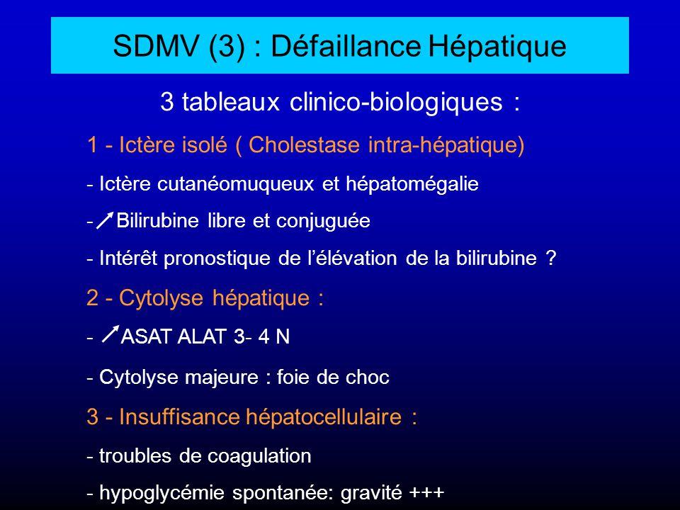 SDMV (3) : Défaillance Hépatique 3 tableaux clinico-biologiques : 1 - Ictère isolé ( Cholestase intra-hépatique) - Ictère cutanéomuqueux et hépatoméga